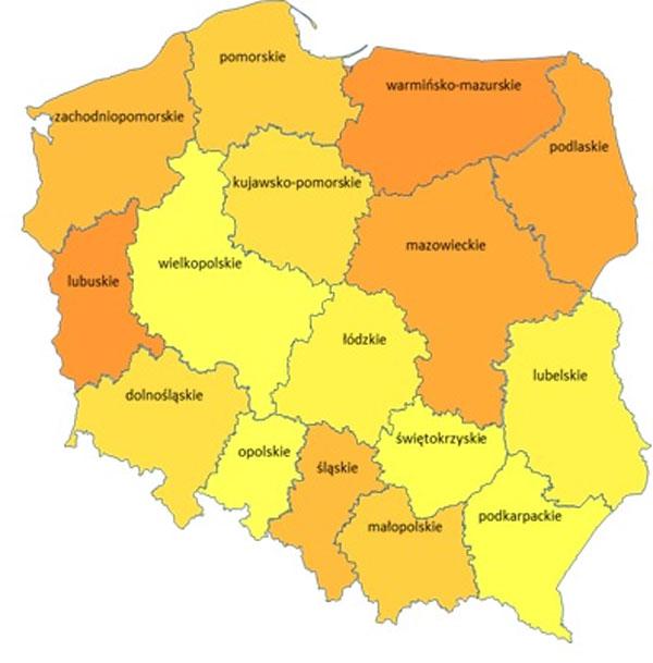 mapa kleszcze